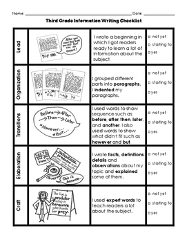 Lucy Calkins Information Writing Checklist with Pictures T