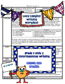 Lucy Calkins Writing Workshop Unit 2 Information Writing G