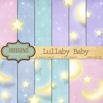 Lullaby Baby Moon and Stars Night Sky Backgrounds