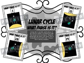 """Lunar Cycle Task Cards """"What Phase is it?"""""""