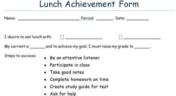Lunch Achievement Form