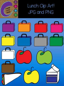 Lunch Box Bag Milk Sandwich Apple Clip Art Color Images Designs