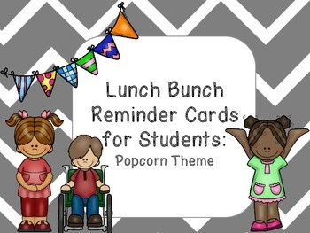 Lunch Bunch Reminder Cards for Students