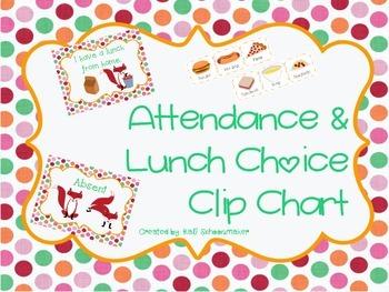 Lunch Choice Clip Chart (Fox Theme)