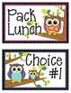 Lunch Choice Clip Tracker: Cute Owl Themed