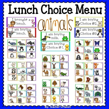 Animal Cards-Lunch Choice Menu