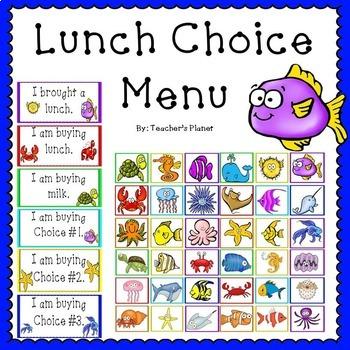 Lunch Choice Menu - Ocean Themed!