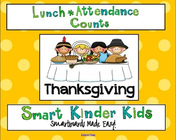 Lunch Count and Attendance for Smartboard - Thanksgiving Theme