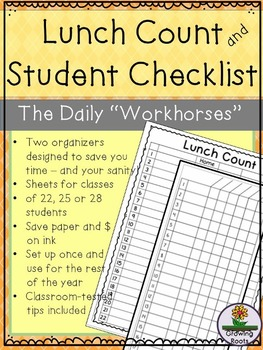 Lunch Count and Student Checklists for Organization