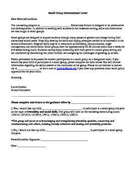 Lunch Group Permission Slip/Informational Letter to Parents