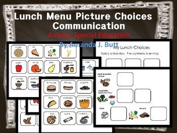 Lunch Menu Communication Picture Choices; Autism; Special