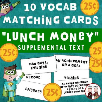 Lunch Money Key Vocabulary Matching Game Journeys Suppleme