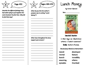 Lunch Money Trifold - Journeys 5th Grade Unit 4 Week 1 (20