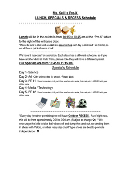 Lunch, Specials & Recess Note