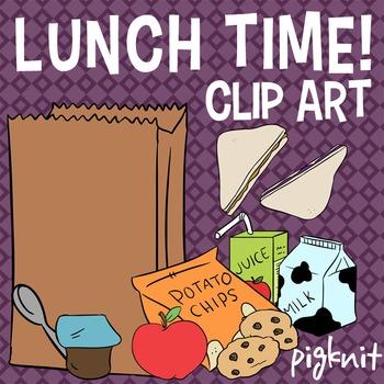 Lunch Time! Food Clip Art -- Peanut Butter Jelly Sandwich,