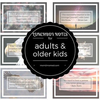 Lunch box notes for adults and older kids, printable, 24 i