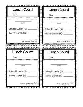 Lunch count form