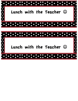 Lunch with the Teacher Reward Pass