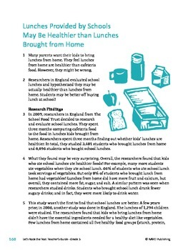 Lunches Provided By Schools May Be Healthier - Information