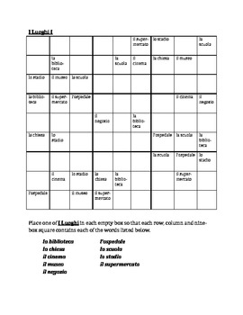 Luoghi (Places in Italian) Sudoku