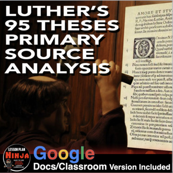 Luther's 95 Theses Primary Source Worksheet (Renaissance R