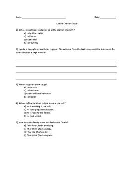 Lyddie Chapter 5 Quick Quiz
