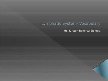 Lymphatic system Vocabulary