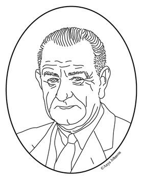 Lyndon B. Johnson (36th President) Clip Art, Coloring Page