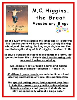 M.C. Higgins, the Great Vocabulary Bingo