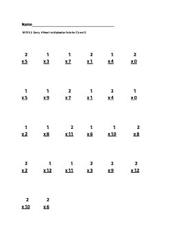 Recall 1's & 2's multiplication facts
