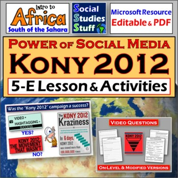 """""""Kony 2012""""- Role of Technology- 5E Lesson with video questions"""
