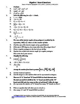 M. S. Algebra Board Session 4,Common Core,Review,Quiz Bowl