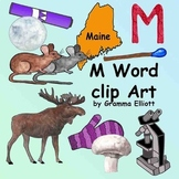 M Word Clip Art in Realistic Color and Black Line