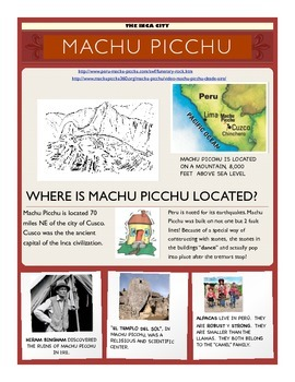 MACHU PICCHU ENGLISH WITH MANY ACTIVITIES
