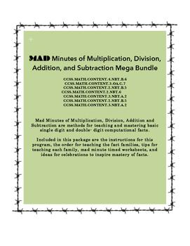 MAD Minutes MEGA Bundle (Addition, Subtraction, Multiplica