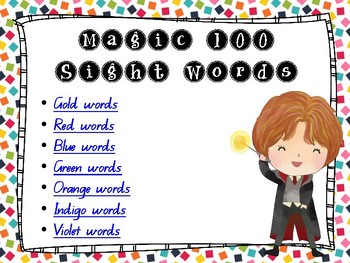 MAGIC 100 Words - Warm Up Slideshow/PPT