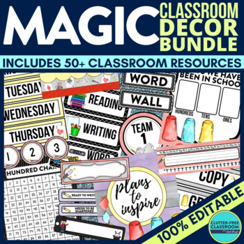 MAGIC THEME Classroom Decor - EDITABLE Clutter-Free Classr