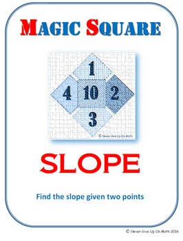 MAGIC SQUARE - Find the slope given 2 points