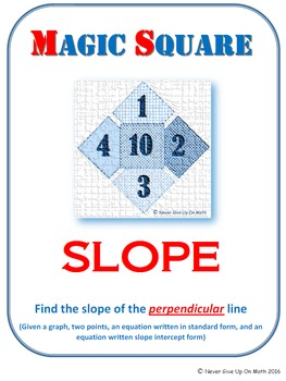 MAGIC SQUARE - Find the slope of perpendicular line (graph