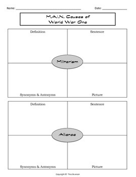 m a i n causes of world war one graphic organizer by tina brunson teachers pay teachers. Black Bedroom Furniture Sets. Home Design Ideas