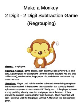 MAKE A MONKEY  2 Digit - 2 Digit Subtraction Regrouping Game
