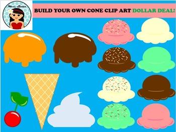 MAKE YOUR OWN ICE CREAM CONE CLIP ART-DOLLAR DEAL