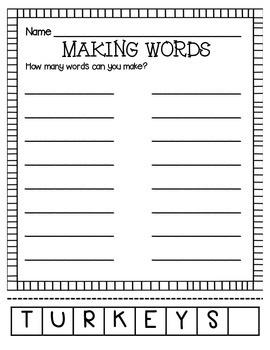 MAKING WORDS-TURKEYS