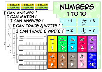 MANDARIN CLASS NUMBERS 1 TO 10 WORKSHEET