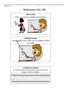 MAP Math Vocabulary Picture Cards Intervals 161-170