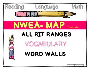 NWEA MAP TEST Vocabulary Word Walls ALL RIT Ranges (Readin