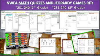 MAP TEST MATH NWEA Bundle RITs 231-240+ (7th/8th Grade) Qu