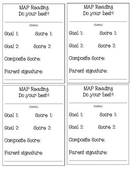 MAP Test Goal Cards- Reading