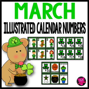 MARCH CALENDAR NUMBERS ILLUSTRATED SET