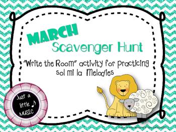 """MARCH Scavenger Hunt--Melody Reading """"Write the Room"""" {so mi la}"""